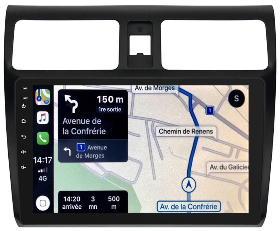 Autoradio GPS à écran tactile QLED Android 10.0 et Apple Carplay sans fil Suzuki Swift de 02/2005 à 08/2010