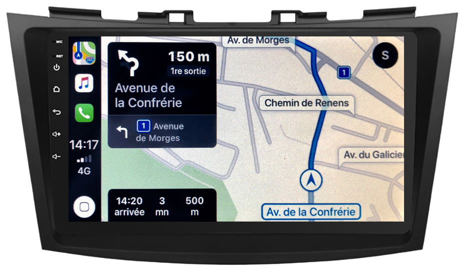 Autoradio GPS à écran tactile QLED Android 10.0 et Apple Carplay sans fil Suzuki Swift de 09/2010 à 2017