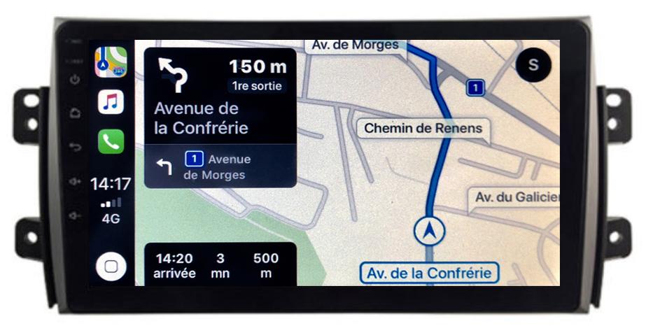 Autoradio GPS à écran tactile QLED Android 10.0 et Apple Carplay sans fil Suzuki SX4 de 2006 à 2013