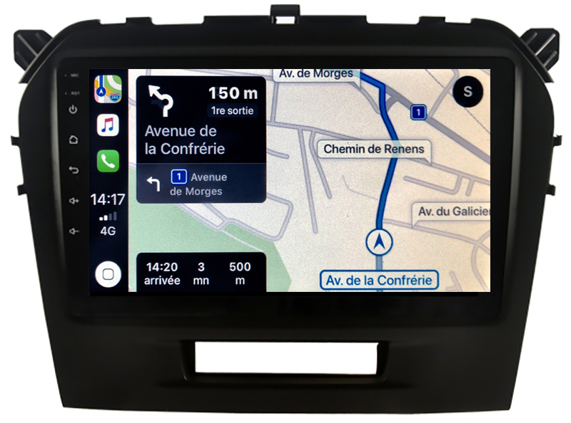 Autoradio GPS à écran tactile QLED Android 10.0 et Apple Carplay sans fil Suzuki Vitara de 04/2015 à 2020