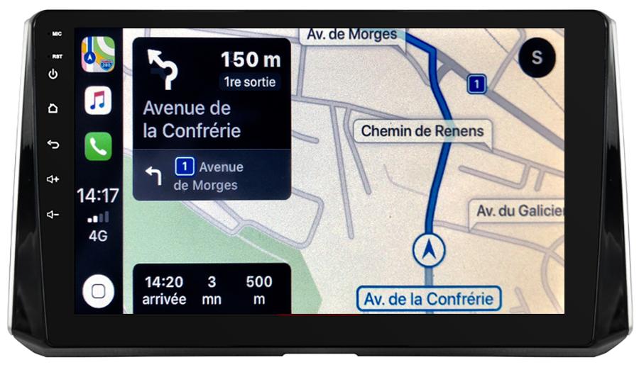 Autoradio GPS à écran tactile QLED Android 10.0 et Apple Carplay sans fil Toyota Auris et Corolla depuis 2018