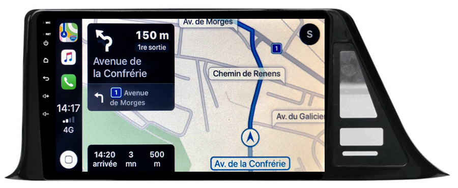 Autoradio GPS à écran tactile QLED Android 10.0 et Apple Carplay sans fil Toyota C-HR de 2016 à 2020