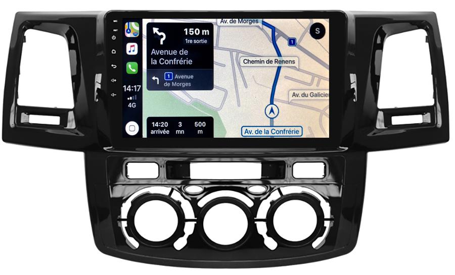 Autoradio GPS à écran tactile QLED Android 10.0 et Apple Carplay sans fil Toyota Hilux de 2012 à 2015