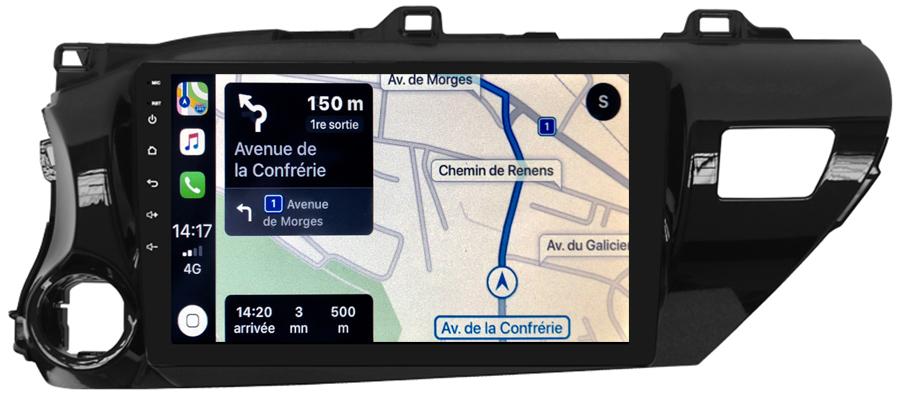 Autoradio GPS à écran tactile QLED Android 10.0 et Apple Carplay sans fil Toyota Hilux depuis 2015
