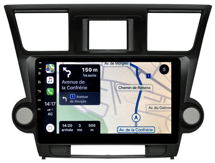 Autoradio GPS à écran tactile QLED Android 10.0 et Apple Carplay sans fil Toyota Highlander de 2008 à 2014