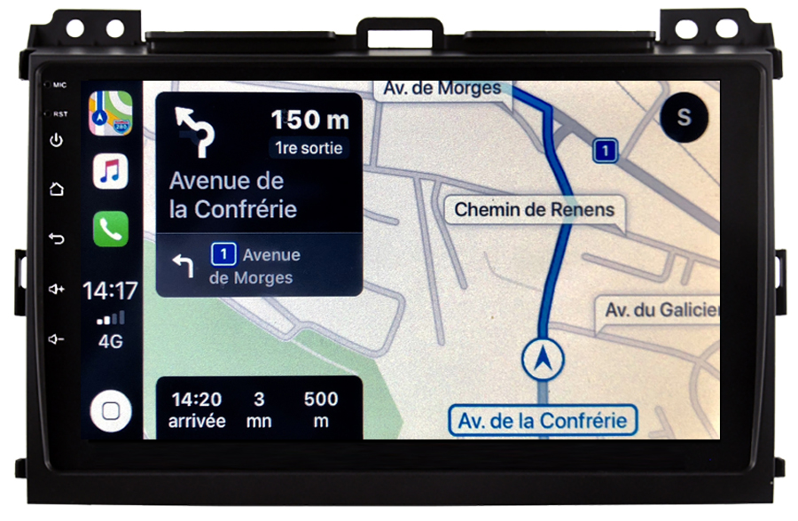 Autoradio GPS à écran tactile QLED Android 10.0 et Apple Carplay sans fil Toyota Land Cruiser de 2002 à 2009