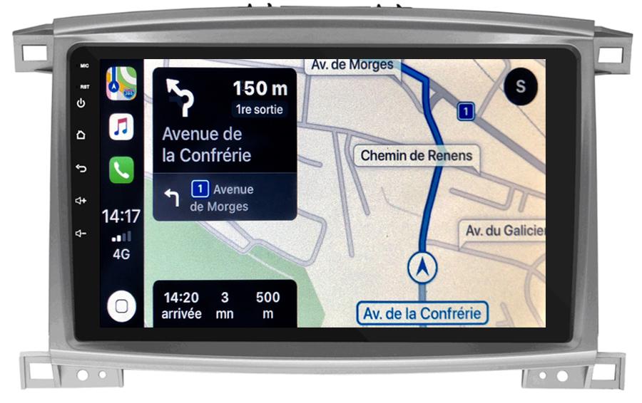 Autoradio GPS à écran tactile QLED Android 10.0 et Apple Carplay sans fil Land Cruiser 100 de 2003 à 2007