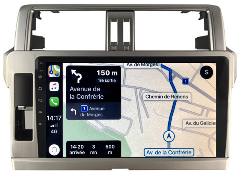 Autoradio GPS à écran tactile QLED Android 10.0 et Apple Carplay sans fil Toyota Land Cruiser 150 de 2010 à 2017