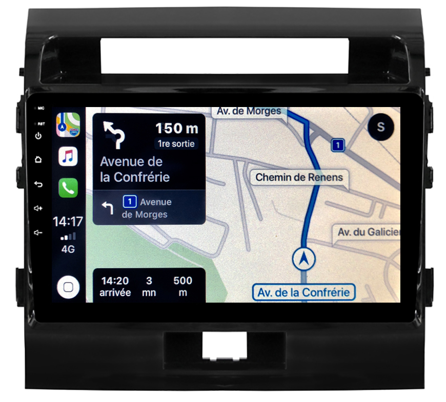 Autoradio GPS à écran tactile QLED Android 10.0 et Apple Carplay sans fil Toyota Land Cruiser 200 de 2008 à 2015
