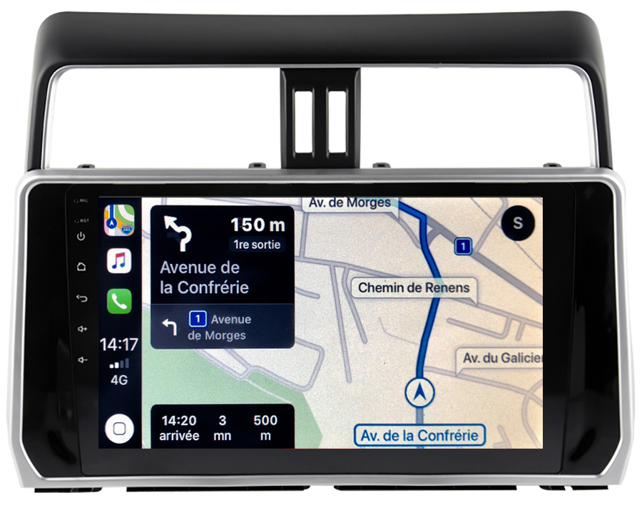 Autoradio GPS à écran tactile QLED Android 10.0 et Apple Carplay sans fil Toyota Land Cruiser depuis 2018