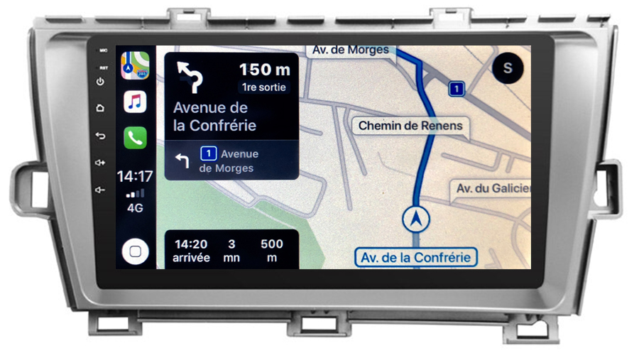 Autoradio GPS à écran tactile QLED Android 10.0 et Apple Carplay sans fil Toyota Prius de 05/2009 à 2012