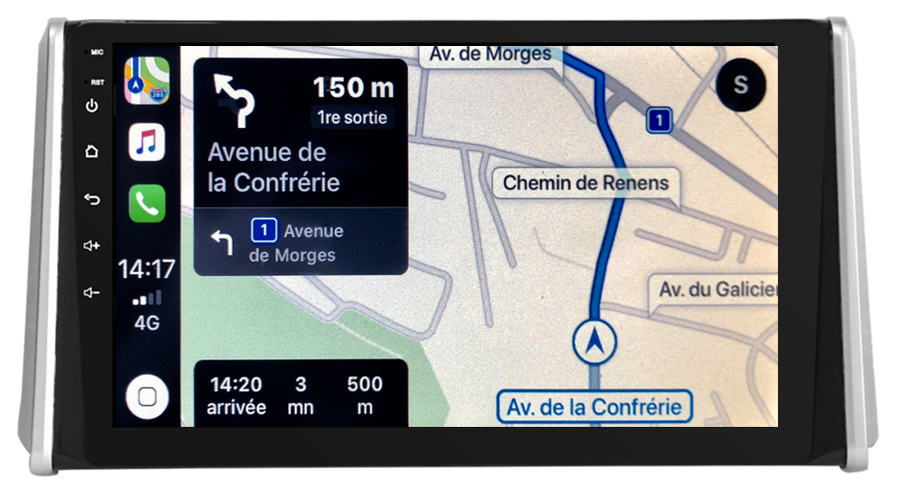 Autoradio GPS à écran tactile QLED Android 10.0 et Apple Carplay sans fil Toyota RAV4 depuis 2019