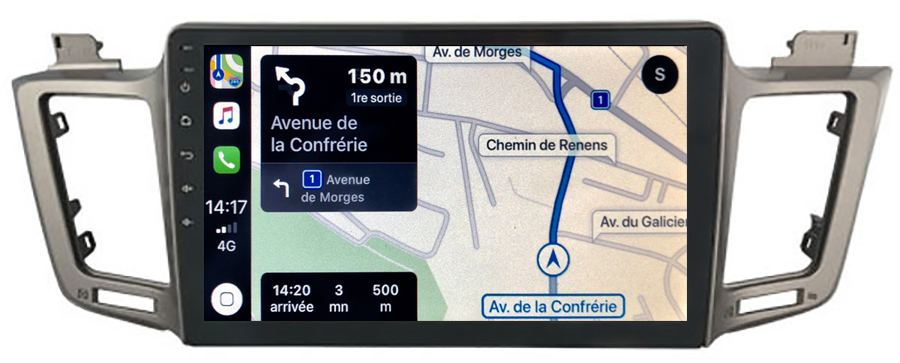 Autoradio tactile GPS Android 10.0 et Apple Carplay sans fil Toyota RAV4 de 2013 à 2018