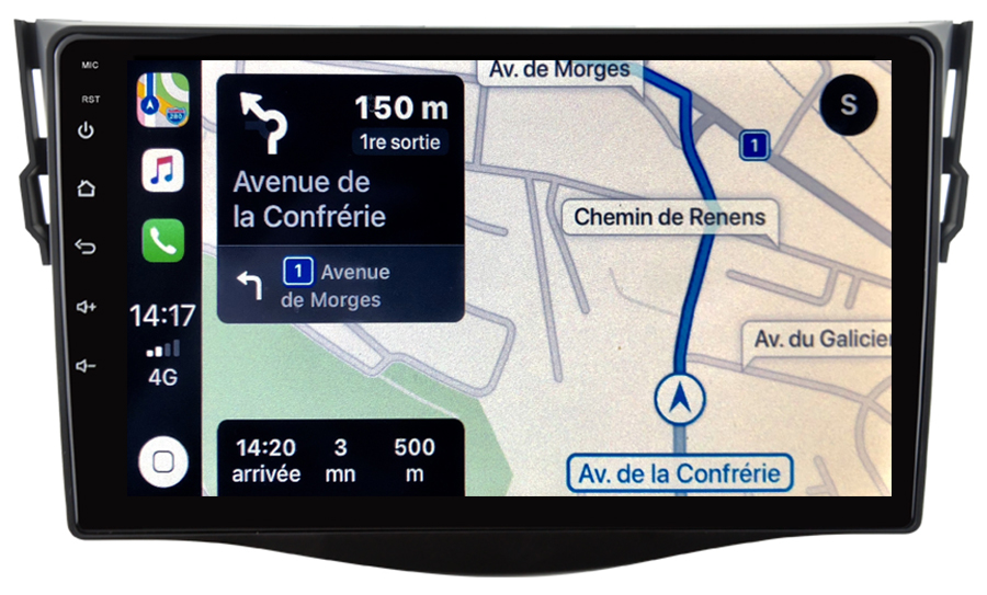 Autoradio GPS à écran tactile QLED Android 10.0 et Apple Carplay sans fil Toyota RAV4 de 2006 à 2012