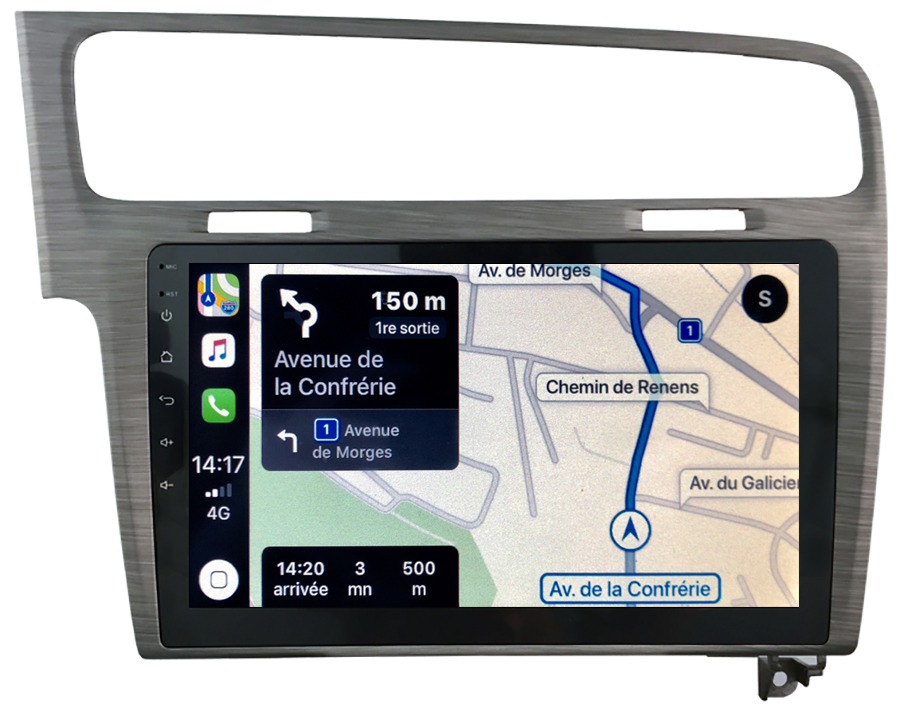 Autoradio GPS à écran tactile QLED Android 10.0 et Apple Carplay sans fil Volkswagen Golf de 2013 à 2020