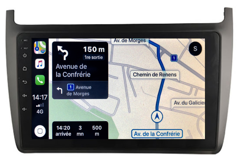 Autoradio GPS à écran tactile QLED Android 10.0 et Apple Carplay sans fil Volkswagen Polo de 2012 à 2017