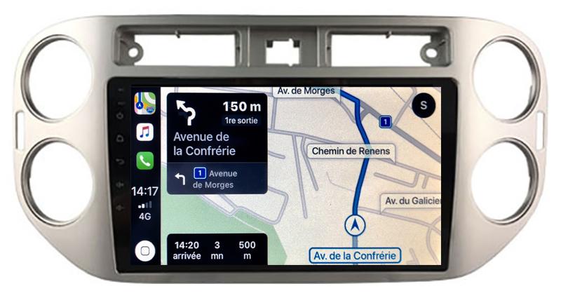Autoradio GPS à écran tactile QLED Android 10.0 et Apple Carplay sans fil Volkswagen Tiguan de 2007 à 2016