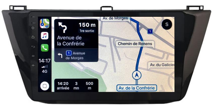 Autoradio tactile GPS Android 10.0 et Apple Carplay sans fil Volkswagen Tiguan depuis 2017
