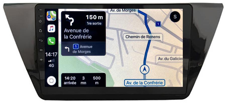Autoradio tactile GPS Android 10.0 et Apple Carplay sans fil Volkswagen Touran depuis 2016