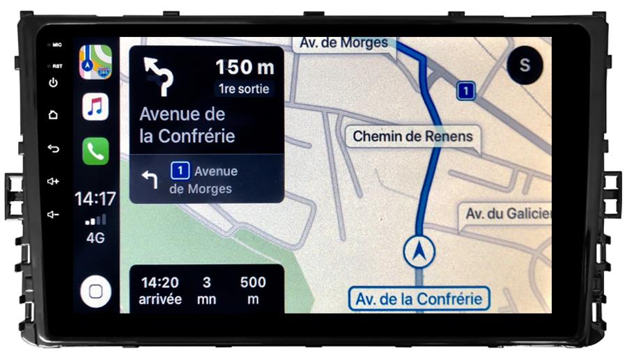 Autoradio tactile GPS Android 10.0 et Apple Carplay sans fil Volkswagen Polo Golf Passat Tiguan Touran Transporter T-Roc T-Cross et Arteon