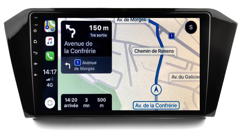Autoradio GPS à écran tactile QLED Android 10.0 et Apple Carplay sans fil Volkswagen Passat de 2015 à 2019