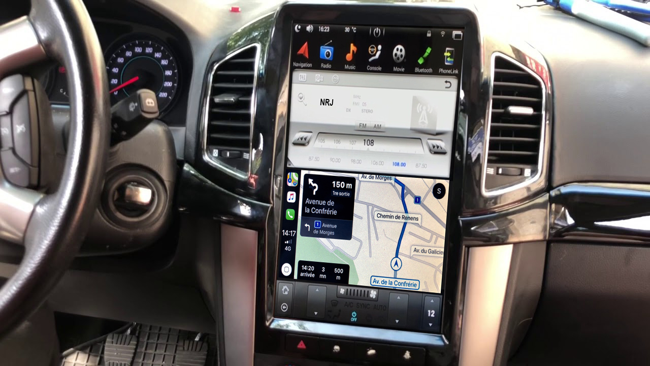 Ecran Tesla Style GPS Android 9.0 et Apple Carplay Chevrolet Captiva de 2011 à 2018