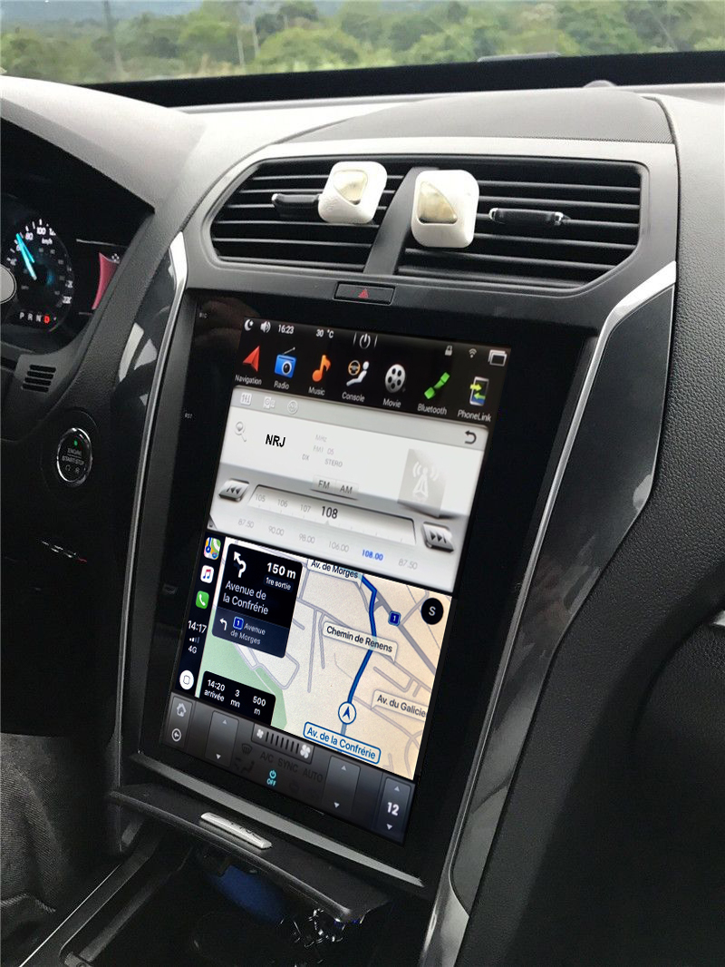 Ecran Tesla Style GPS Android 8.1 et Apple Carplay Ford Explorer de 2011 à 2019