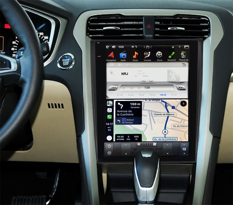 Ecran Tesla Style GPS Android 8.1 et Apple Carplay Ford Mondeo de 2014 à 2019