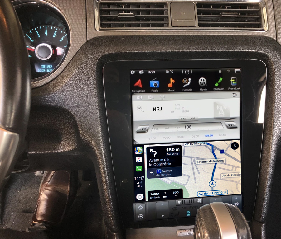 Ecran Tesla Style GPS Android et Apple Carplay Ford Mustang de 2010 à 2014