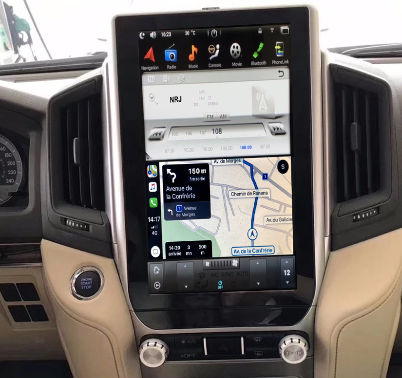 Ecran Tesla Style GPS Android 8.1 et Apple Carplay Toyota Land Cruiser depuis 2016