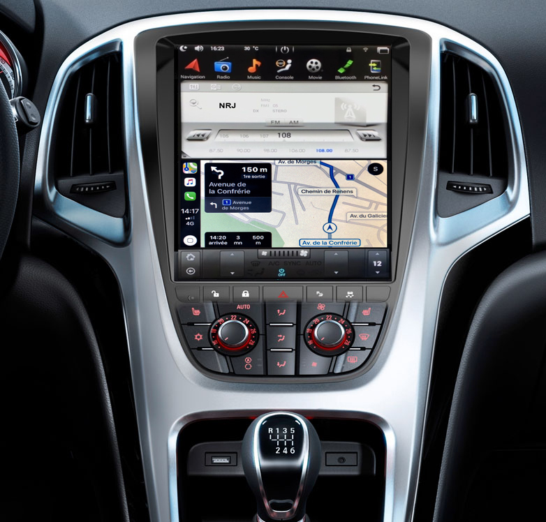 Ecran Tesla Style GPS Android 9.0 et Apple Carplay Opel Astra J de 2010 à 2015
