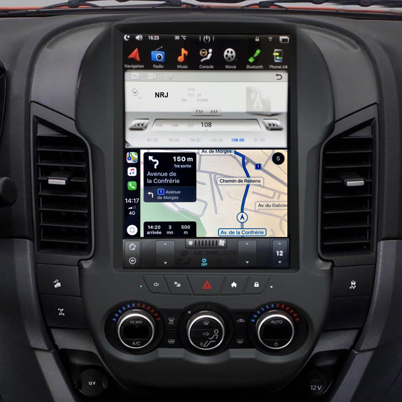 Ecran Tesla Style GPS Android 9.0 et Apple Carplay Ford Ranger de 2012 à 2015