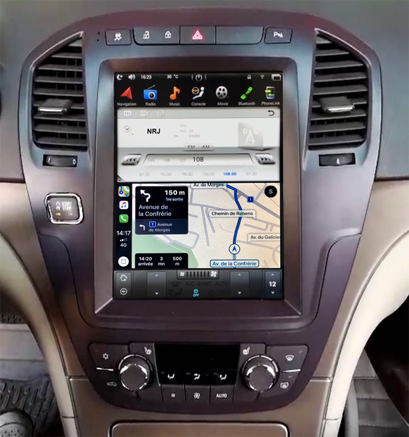 Ecran Tesla Style GPS Android 9.0 et Apple Carplay Opel Insignia de 11/2008 à 09/2013