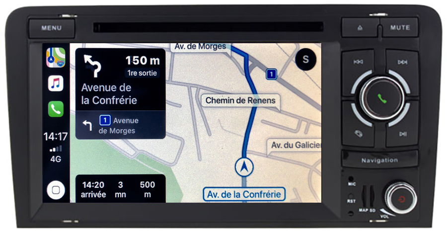 Autoradio tactile GPS Android 10.0 et Apple Carplay Audi A3 de 2003 à 2012