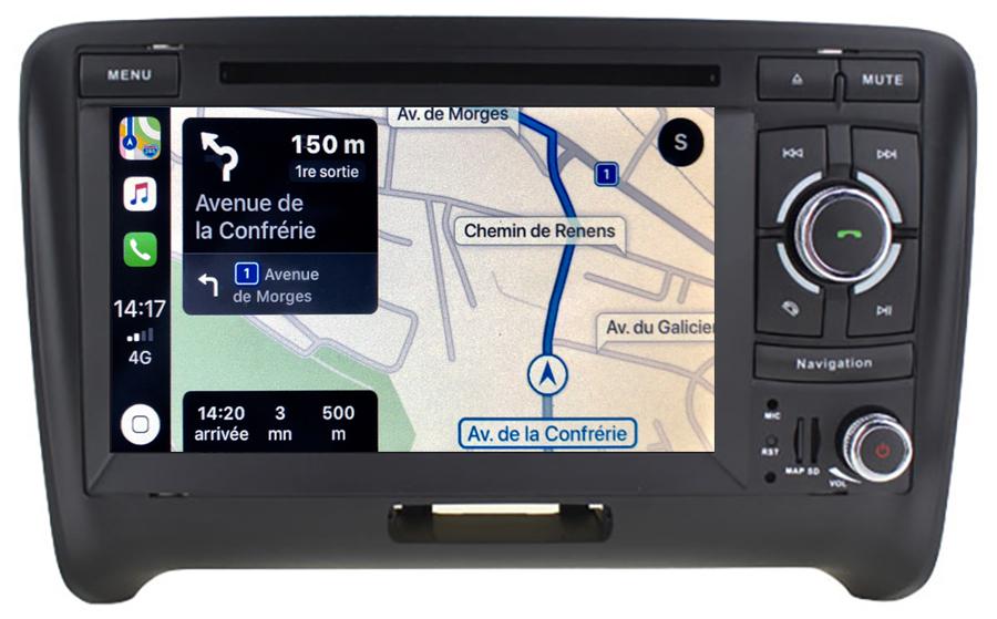 Autoradio tactile GPS Android 10.0 et Apple Carplay Audi TT de 2006 à 2014