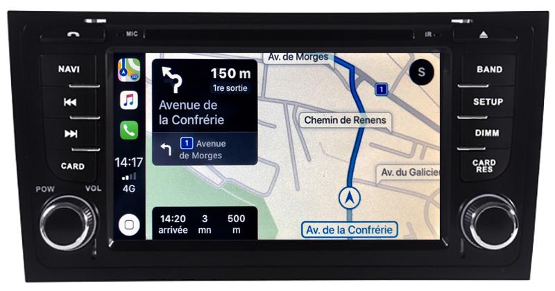 Autoradio tactile GPS Android 10.0 et Apple Carplay Audi A6 de 2001 à 2005