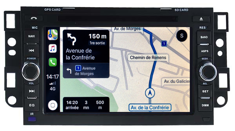 Autoradio tactile GPS Android 10.0 et Apple Carplay Chevrolet Epica, Aveo et Captiva de 2006 à 2011