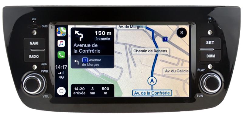 Autoradio tactile GPS Android 10.0 et Apple Carplay Fiat Doblo de 2010 à 2015