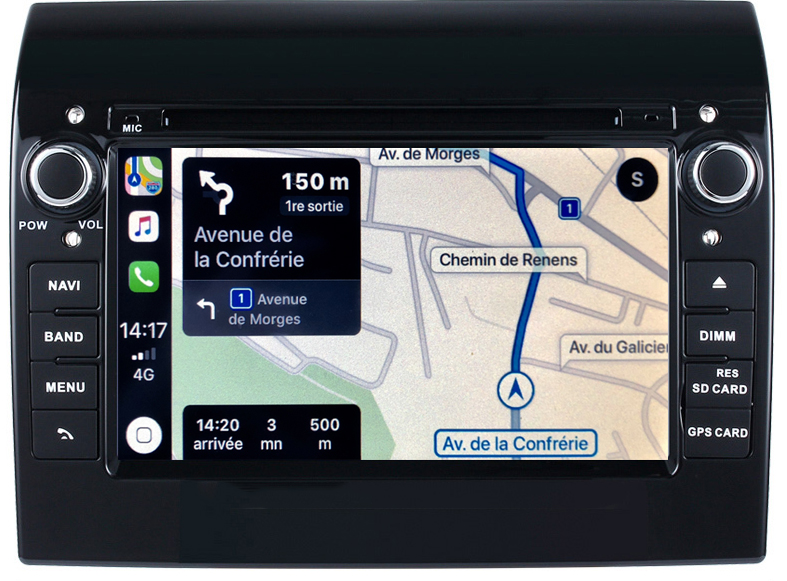 Autoradio tactile GPS Android 10.0 et Apple Carplay Peugeot Boxer depuis 2006
