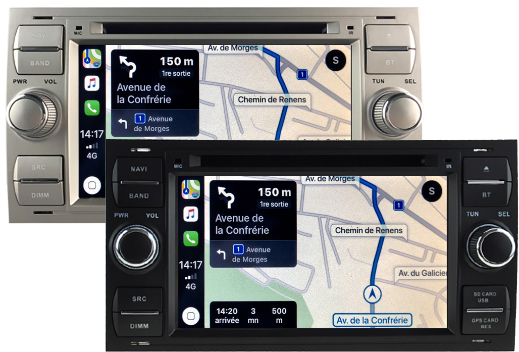 Autoradio tactile GPS Android 10.0 et Apple Carplay Ford C-Max, Kuga, Focus, Fiesta, Fusion, Transit, S-Max