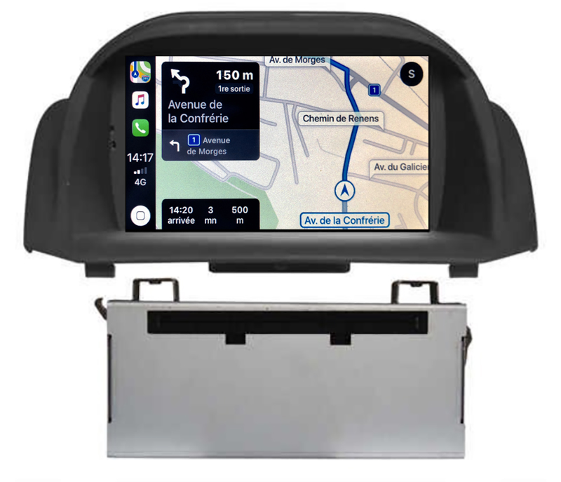 Autoradio tactile GPS Android 10.0 et Apple Carplay Ford Fiesta de 2013 à 2017