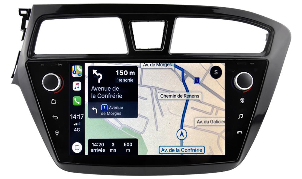 Autoradio tactile GPS Android 10.0 et Apple Carplay Hyundai i20 de 2015 à 2020