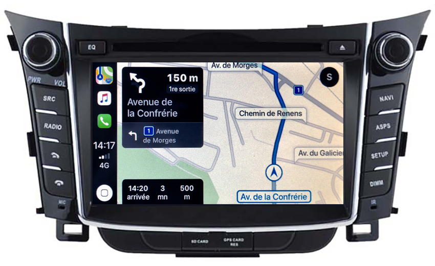 Autoradio tactile GPS Android 10.0 et Apple Carplay Hyundai i30 de 2012 à 2017