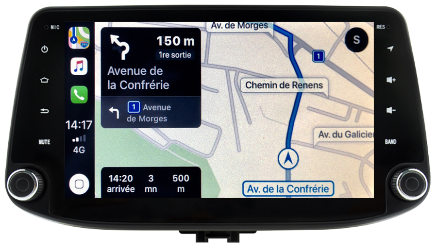 Autoradio tactile GPS Android 10.0 et Apple Carplay Hyundai i30 depuis 2017
