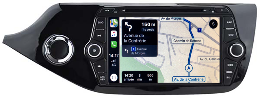Autoradio tactile GPS Android 10.0 et Apple Carplay Kia Cee\'d de 04/2012 à 2018