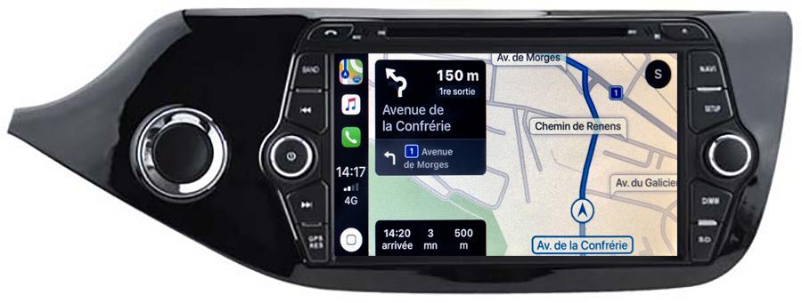 Autoradio tactile GPS Android 10.0 et Apple Carplay Kia Cee\'d de 04/2012 à 2018