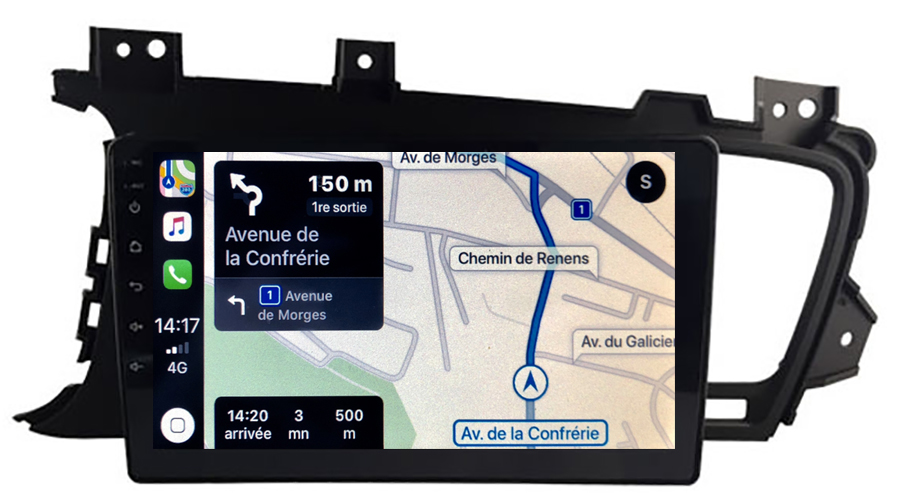 Autoradio GPS à écran tactile QLED Android 10.0 et Apple Carplay Kia Optima de 2011 à 2015