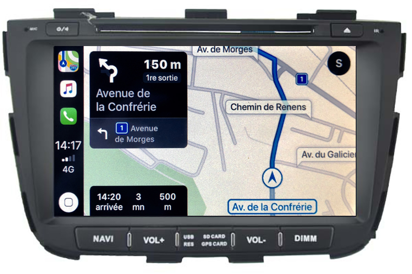 Autoradio tactile GPS Android 10.0 et Apple Carplay Kia Sorento de 10/2012 à 02/2015
