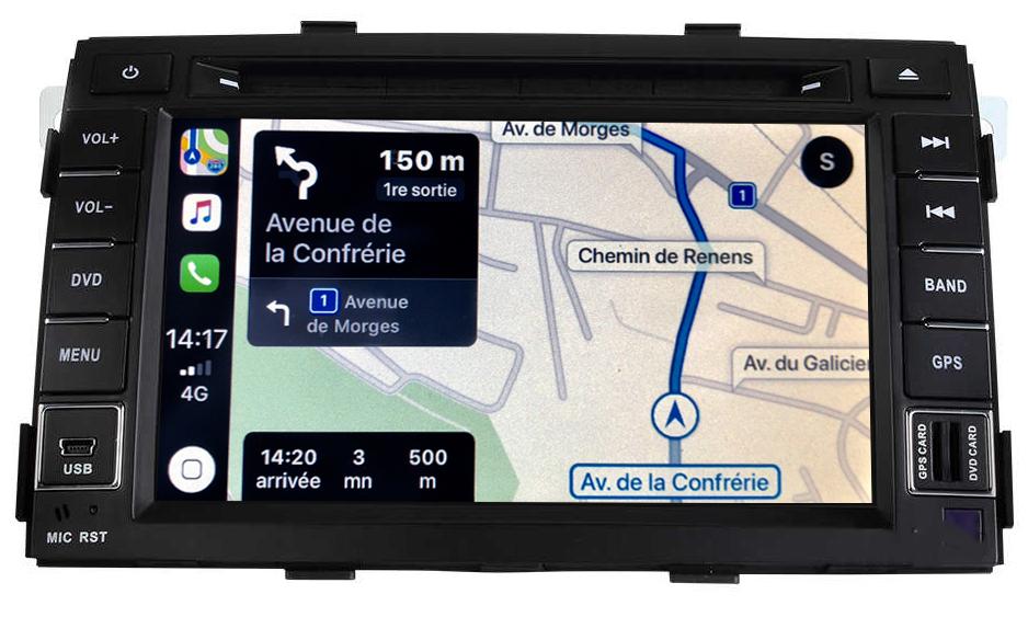 Autoradio tactile GPS Android 10.0 et Apple Carplay Kia Sorento de 04/2009 à 2012