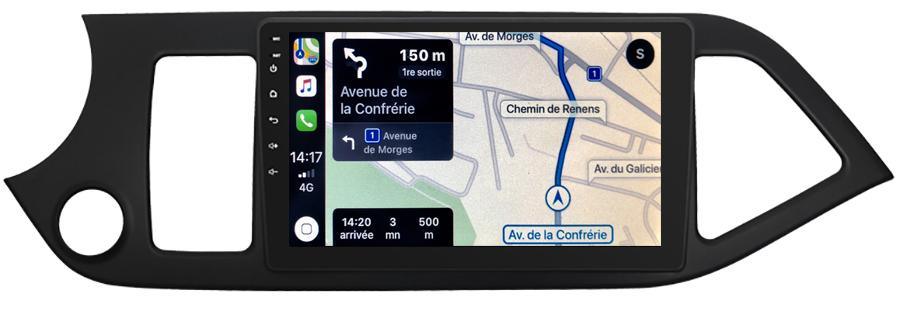 Autoradio tactile GPS Android 10.0 et Apple Carplay sans fil Kia Picanto de 2011 à 2016